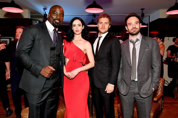 Mike Colter, Krysten Ritter, Finn Jones and Charlie Cox attend the 'Marvel's The Defenders' New York Premiere - After Party at The Standard Biergarten on July 31, 2017 in New York City.