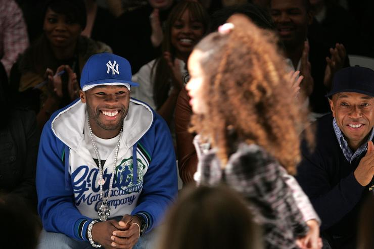 50 Cent (left), Russell Simmons (right)