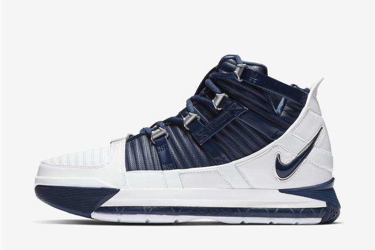 "a6e18b96f25 Nike LeBron 3 Returning In ""White Navy"" Colorway  Official Images"