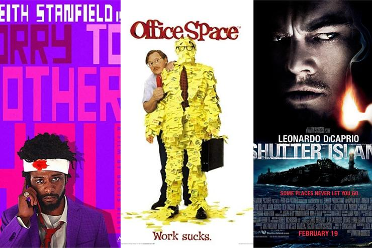 "Movie posters for ""Sorry to Bother You,"" ""Office Space"" and ""Shutter Island"""