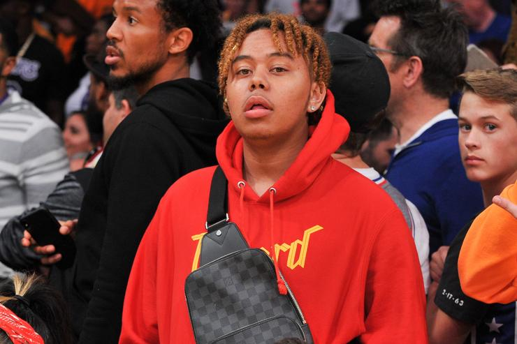 YBN Cordae attends a basketball game between the Los Angeles Lakers and the Philadelphia 76ers at Staples Center on January 29, 2019 in Los Angeles, California