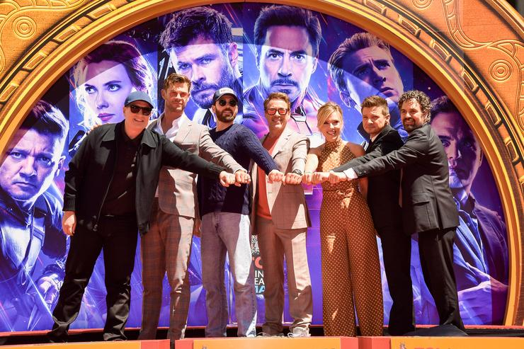 President of Marvel Studios/Producer Kevin Feige, Chris Hemsworth, Chris Evans, Robert Downey Jr., Scarlett Johansson, Mark Ruffalo, and Jeremy Renner attend the Marvel Studios' 'Avengers: Endgame' cast place their hand prints in cement at TCL Chinese Theatre IMAX Forecourt at TCL Chinese Theatre IMAX on April 23, 2019 in Hollywood, California.