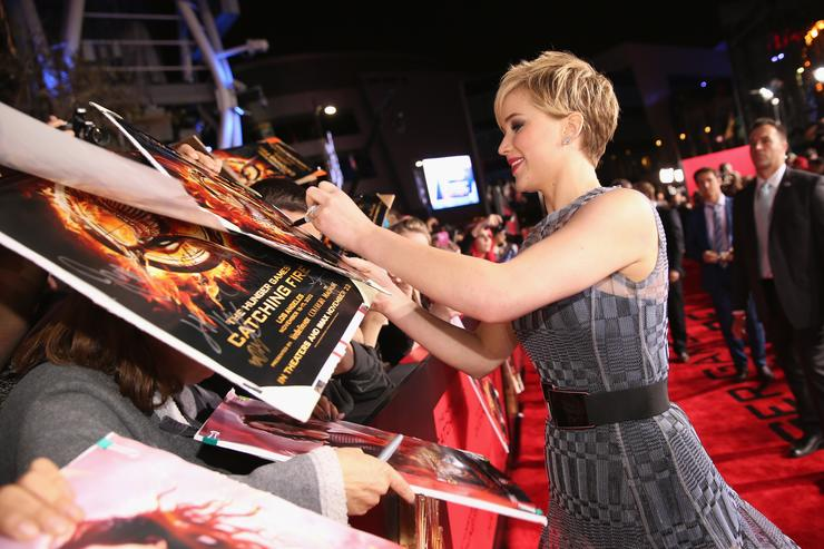 "Jennifer Lawrence attends premiere of Lionsgate's ""The Hunger Games: Catching Fire"" - Red Carpet at Nokia Theatre L.A. Live on November 18, 2013 in Los Angeles, California"