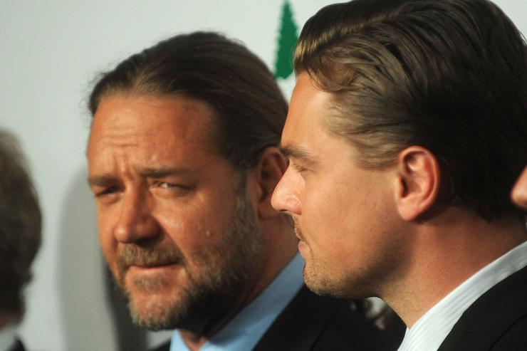 """Russell Crowe and Leonardo DiCaprio attends the premiere of """"Body of Lies"""" at the Frederick P. Rose Theater on October 5, 2008 in New York City."""