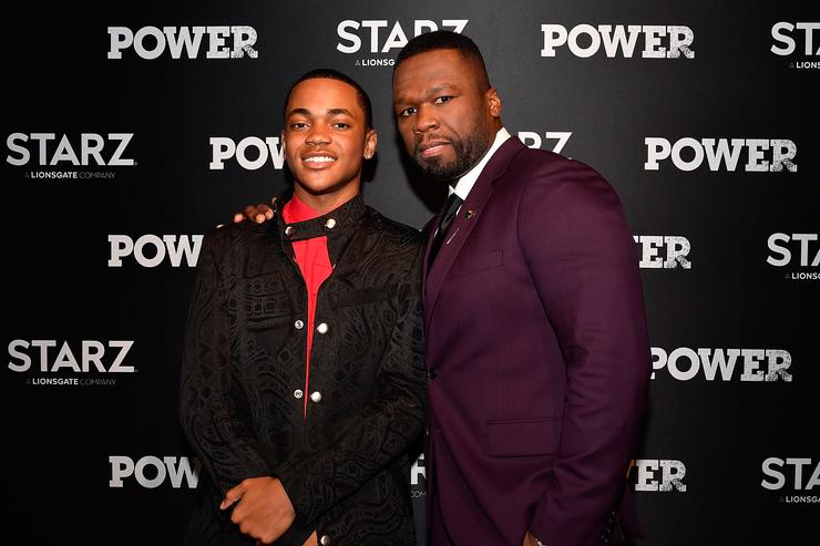 "Actors Michael Rainey Jr. (L) and Curtis ""50 Cent"" Jackson attend the STARZ Original series ""Power"" Season Four Premiere at The Newseum on June 8, 2017 in Washington, DC."