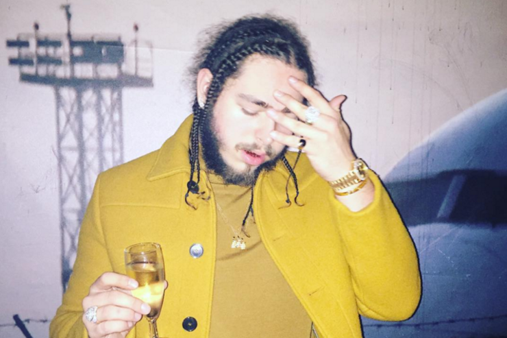 Post Malone in a yellow coat