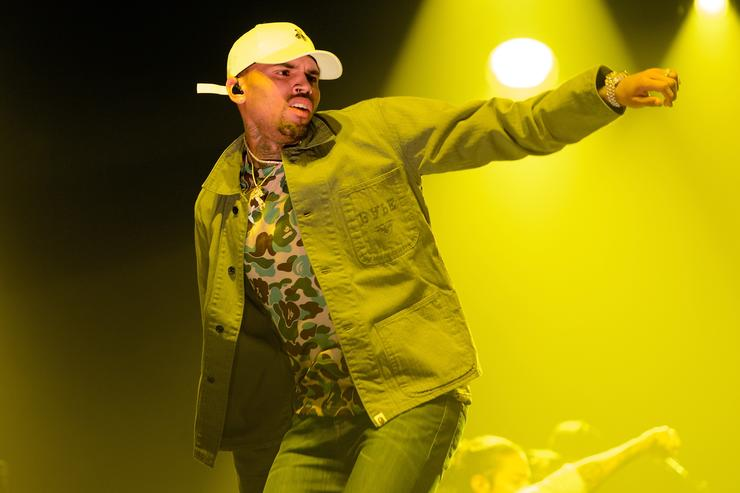 Chris Brown performs on stage in Chicago