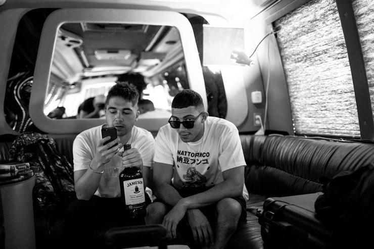 Majid Jordan on tour bus