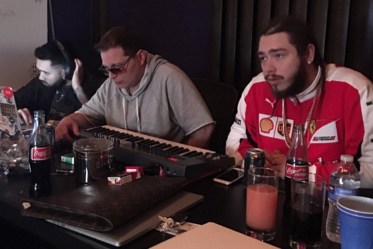 Post Malone and Scott Storch in the studio.