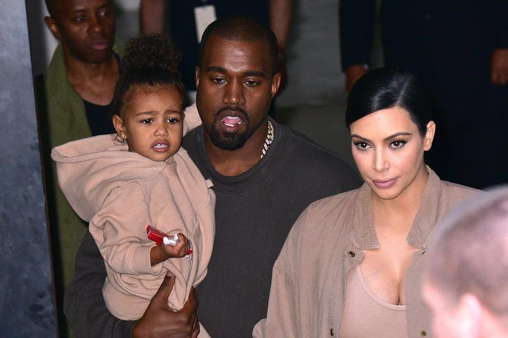 North West, Kanye West and Kim Kardashian leave Kanye West Yeezy Season 2