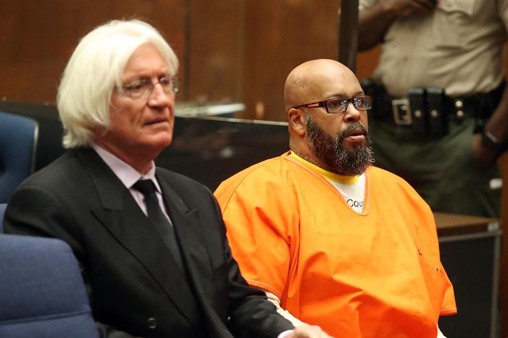 Marion 'Suge' Knight appear in Los Angeles court for a pretrial hearing at the Clara Shortridge Foltz Criminal Justice Center on January 21, 2016 in Los Angeles, California. Knight is charged with robbery and criminal threats after allegedly stealing a photographer's camera during an incident September 5, 2014 in Beverly Hills.