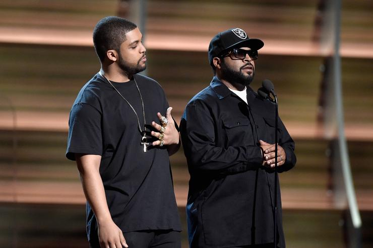 Ice Cube and O'Shea Jackson Jr. present at the Grammys.