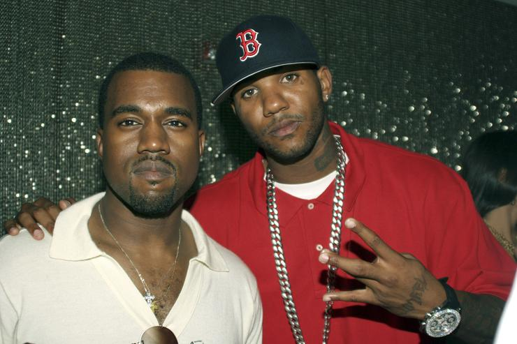 Kanye West and The Game during Kanye West Hosts G.O.O.D Music Pre Vma Party at Shore Club in Miami, FL, United States. (