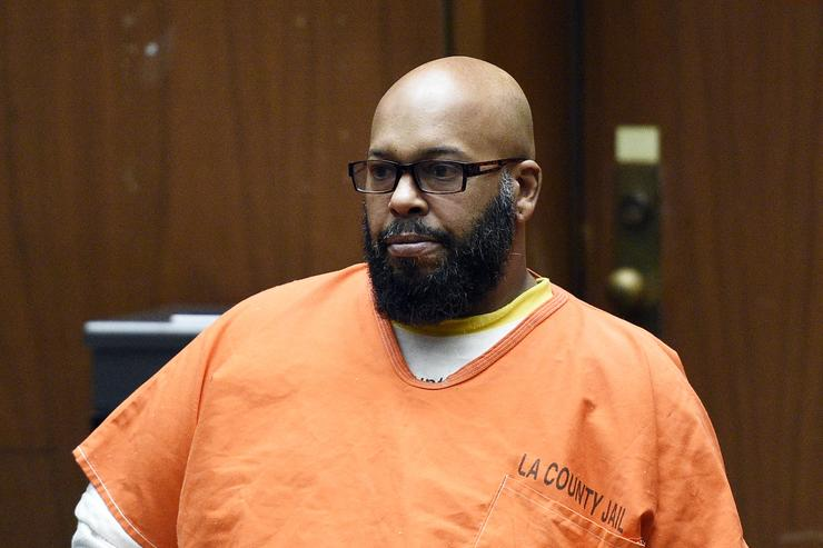 Marion 'Suge' Knight appears for a hearing at the Clara Shortridge Foltz Criminal Justice Center March 9, 2015 in Los Angeles, California. The hearing was scheduled to determine if the two criminal cases against Knight, one for murder and attempted murder when Knight allegedly ran over two men in a Compton parking lot after an argument and another case involving an alleged robbery and criminal threats to a photographer in Beverly Hills, should be moved to the downtown Los Angeles courthouse