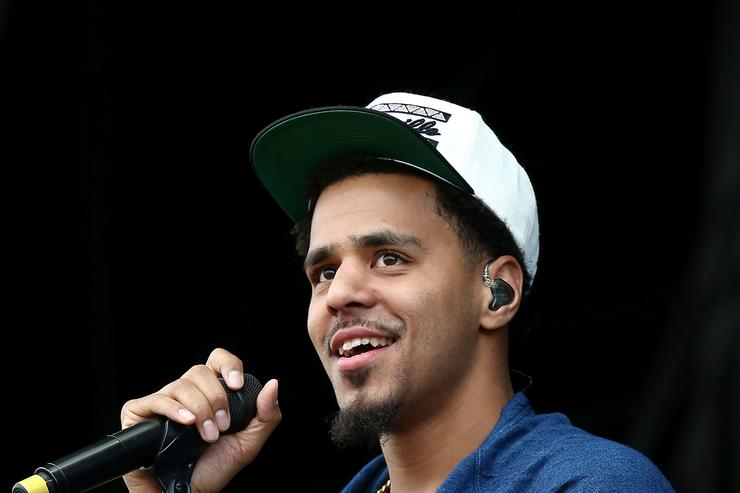 J Cole performs on stage at Wireless Festival at Finsbury Park on July 6, 2014 in London, United Kingdom