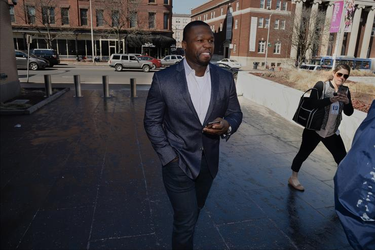 Curtis Jackson, also known as 50 Cent, makes an appearance at bankruptcy court on March 09, 2016 in Hartford, Connecticut. Jackson filed for bankruptcy one year ago and is now being asked to explain Instagram photos, including one of him next to piles of cash arranged to spell out 'broke.'