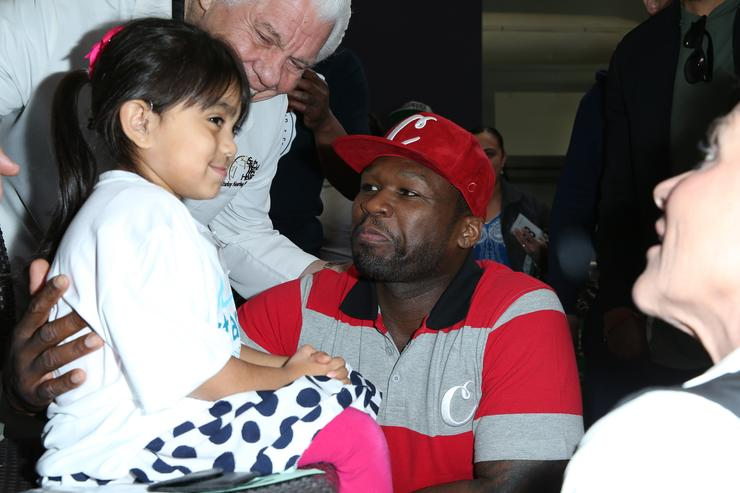 50 Cent at Celebrity Hearing Mission With Starkey Hearing Foundation