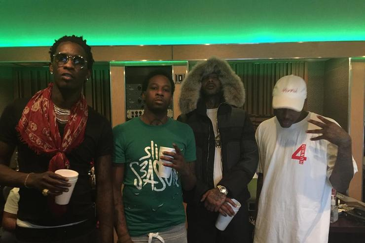 Lil Durk, YG, Young Thug and Nipsey Hussle in the studio.
