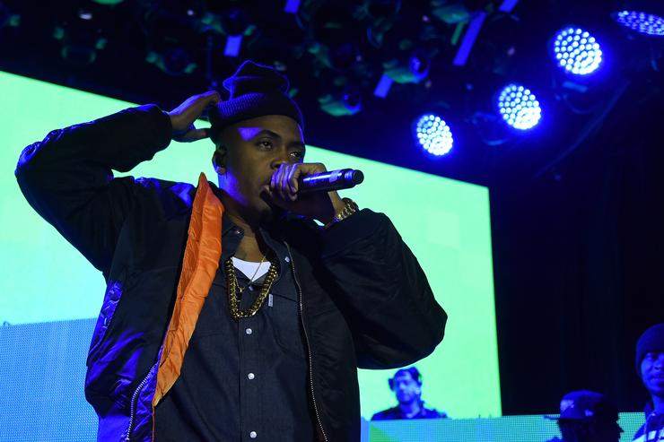 Hip-hop superstar Nas performs at the Sprite Obey Your Thirst Concert at Irving Hall in New York City on Friday, Feb. 13