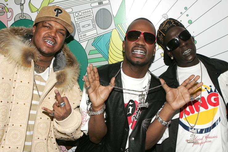 Rappers D.J. Paul, Juicy J and Crunchy Black of the rap group Three 6 Mafia make an appearance at MTV's Total Request Live on March 22, 2006 in New York City.