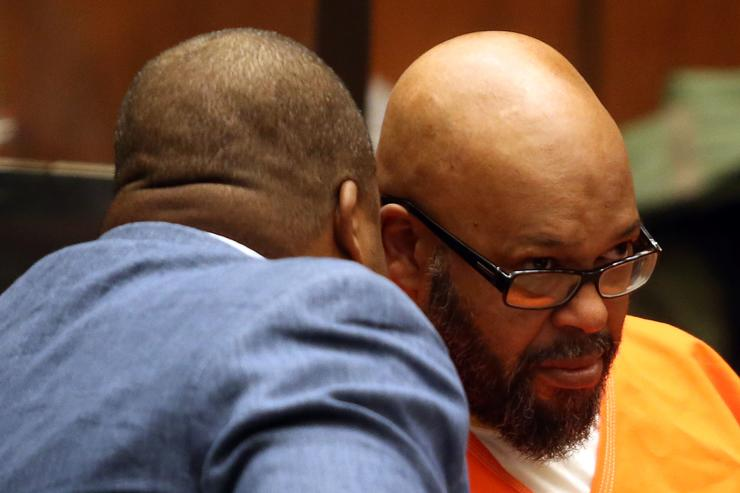 Marion 'Suge' Knight (R) and his attorney Thaddeus Culpepper appear in court for a pretrial hearing at the Clara Shortridge Foltz Criminal Justice Center on February 26, 2016 in Los Angeles, California. Knight is charged with murder and attempted murder after a hit-and-run incident following an argument in a Compton parking lot January 29, 2015.
