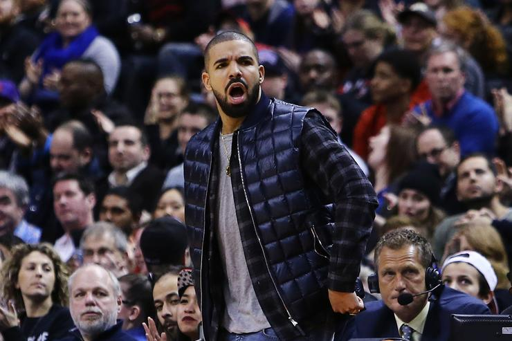 Drake at the Houston Rockets v Toronto Raptors basketball game