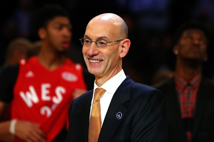 BA commissioner Adam Silver speaks during the NBA All-Star Game 2016 at the Air Canada Centre on February 14, 2016 in Toronto, Ontario.