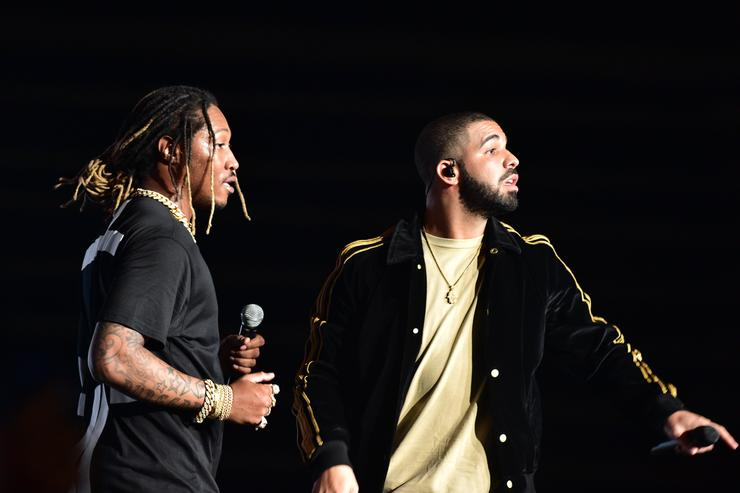Rapper Future and Drake perform at Hot 107.9 Birthday Bash Block Show at Philips Arena on June 20, 2015 in Atlanta, Georgia.