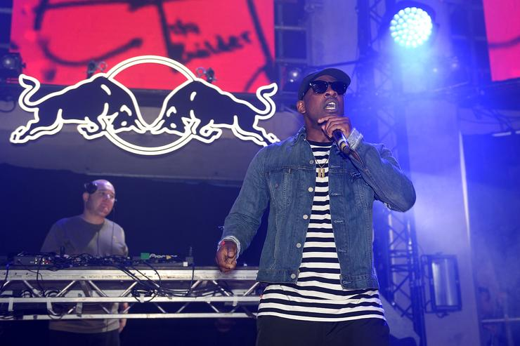 Skepta performs on stage