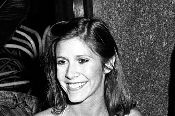 Carrie Fisher attends Giorgio Armani Fashion Show on September 16, 1980 at the RCA Promenade in New York City.