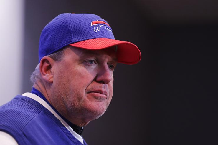Head coach Rex Ryan of the Buffalo Bills answers questions after beating the Cleveland Browns 33-13 at New Era Field on December 18, 2016 in Orchard Park, New York.