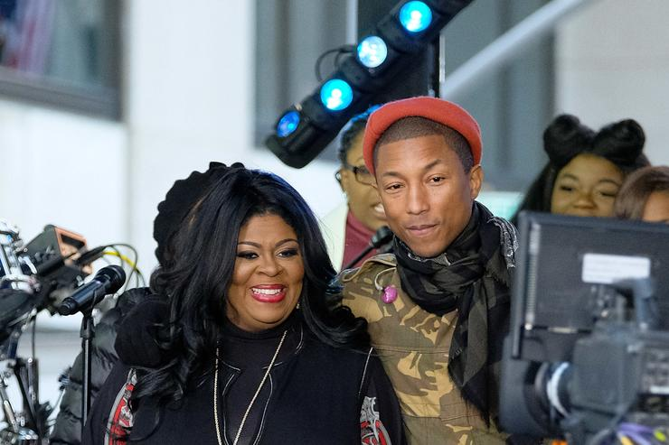 Pharrell Williams (R) and Kim Burrell pose onstage during the Citi Concert Series on TODAY at Rockefeller Center on December 9, 2016 in New York City.