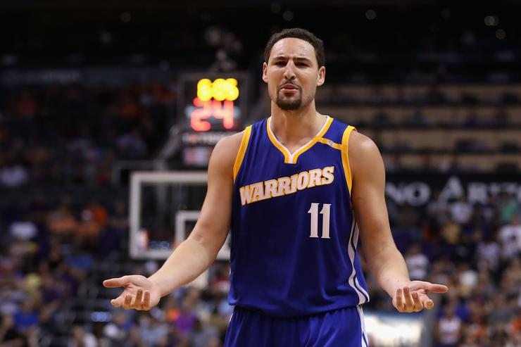 Klay Thompson #11 of the Golden State Warriors reacts during the NBA game against the Phoenix Suns at Talking Stick Resort Arena on October 30, 2016 in Phoenix, Arizona. The Warriors defeated the Suns 106 -100.