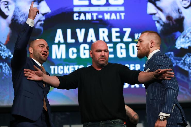 Conor McGregor and Eddie Alvarez face-off as UFC president Dana White breaks them up at the UFC 205 press conference at The Theater at Madison Square Garden on September 27, 2016 in New York City.