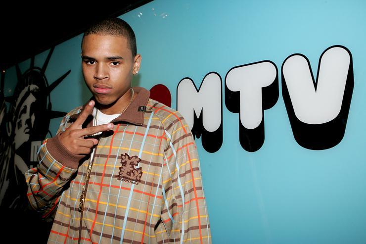 Singer Chris Brown stops by MTV's Total Request Live October 4, 2005 in New York City.