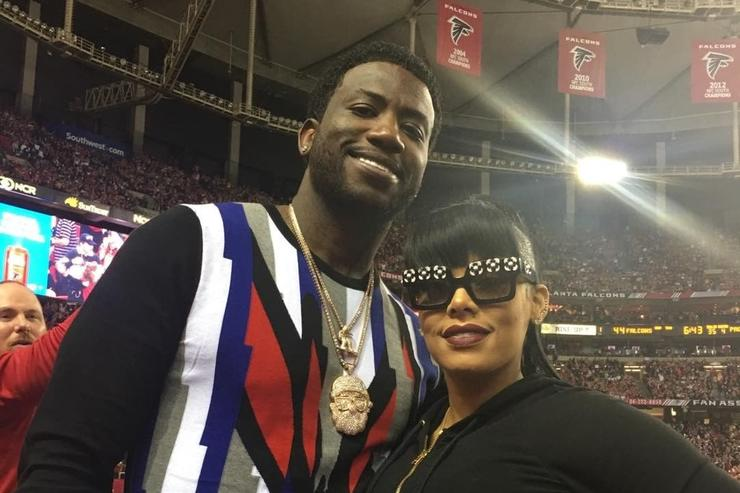 Gucci Mane & fiance at Falcons game