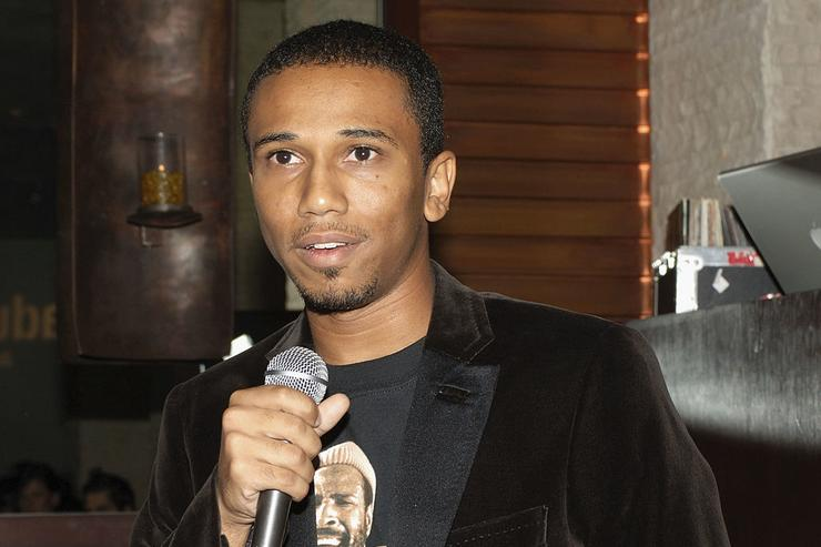 Creator/Executive Producer Aaron McGruder speaks at the Los Angeles Launch Party For The TV Series 'The Boondocks' at Mood on November 1, 2005 in Hollywood, California.