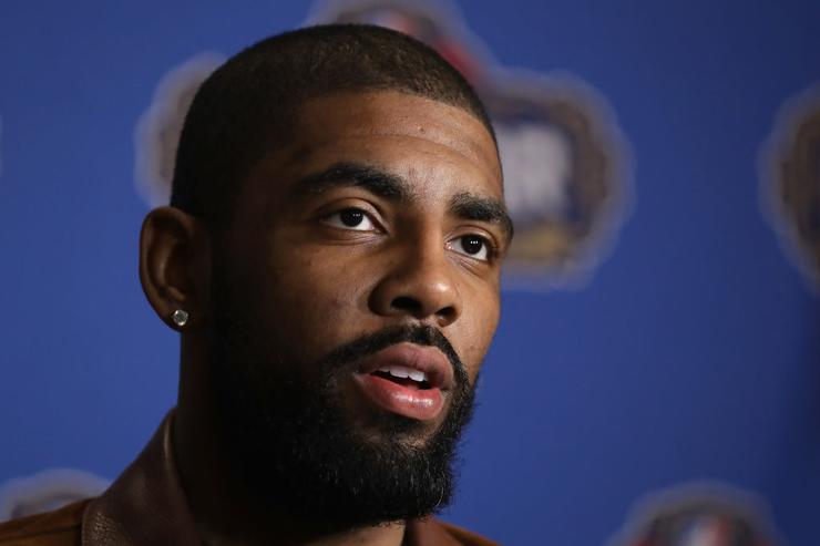 Kyrie Irving #2 of the Cleveland Cavaliers speaks with the media during media availability for the 2017 NBA All-Star Game at The Ritz-Carlton New Orleans on February 17, 2017 in New Orleans, Louisiana.