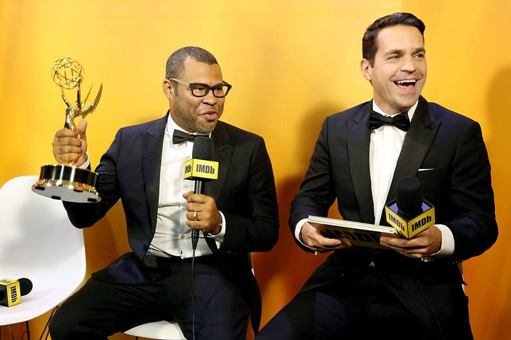 Winner Jordan Peele and Host Dave Karger attend IMDb Live After The Emmys, presented by TCL on September 18, 2016 in Los Angeles, California.