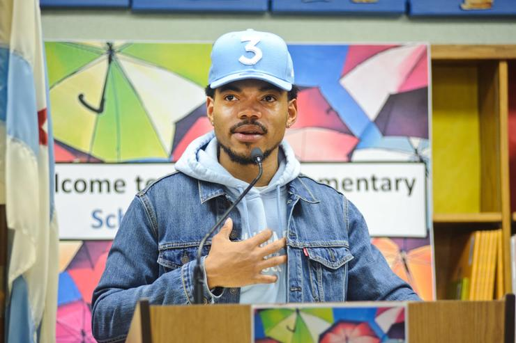 Chance The Rapper holds a press conference and donates $1 Million Dollars to the Chicago Public School Foundation at Westcott Elementary School on March 6, 2017 in Chicago, Illinois.