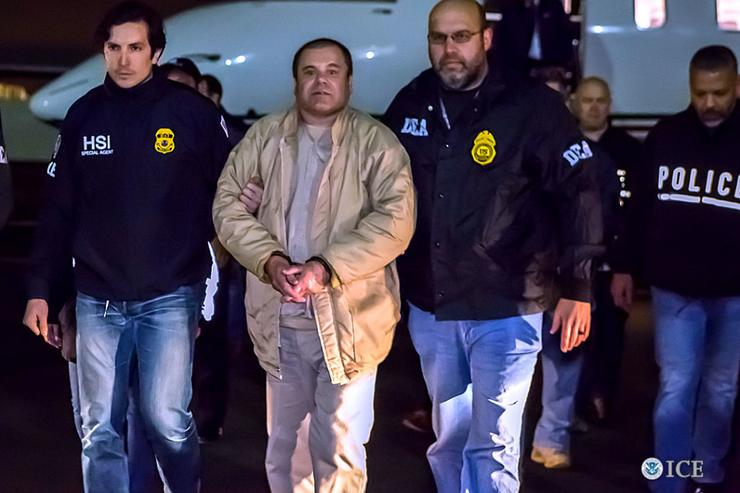 In this handout provided by U.S. Immigration and Customs Enforcement, Federal authorities announced Friday that Joaquin Archivaldo Guzman Loera, known by various aliases including, âEl Chapo,❠will face charges filed in Brooklyn, New York, following his extradition to the United States from Mexico. Guzman Loera arrived in New York under heavy escort by special agents with U.S. Immigration and Customs Enforcement (ICE) Homeland Security Investigations and the Drug Enforcement Administration (DEA) and other authorities.