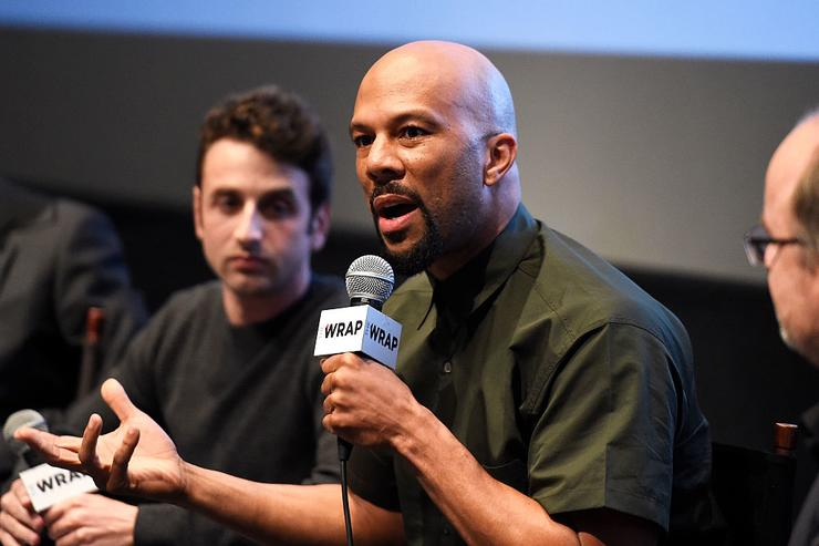 Composer Justin Hurwitz (L) and Rapper Common speak during the TheWrap's 'An Evening of Best Song Contenders' on December 12, 2016 in Los Angeles, California.