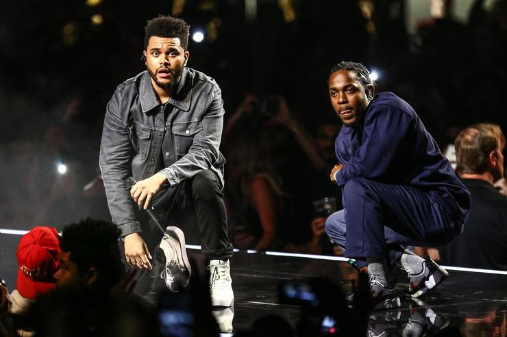 Weeknd Kendrick Lamar Joins The Weeknd During The 'Legends of The Fall Tour' At The Forum
