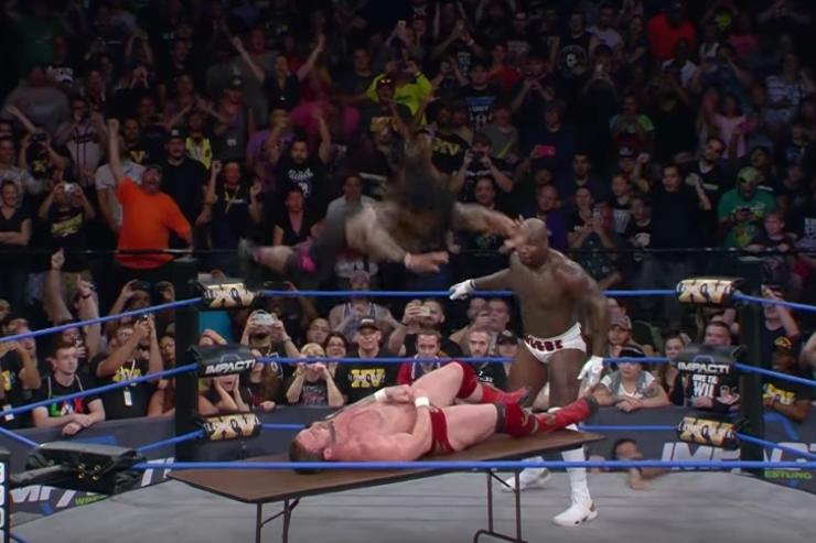 DeAngelo attempts frog splash onto a table