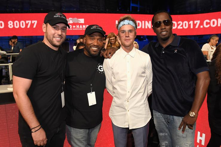 Diddy, Justin Bieber, Scooter BRaun & Bun B at Hand In Hand Telethon