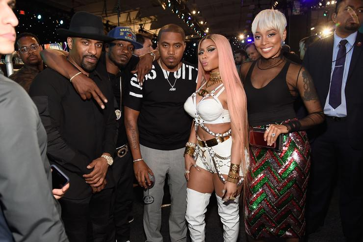 Nas & Nicki Minaj Hug & Kiss on Camera at Birthday Party