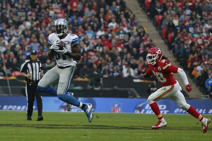 Calvin Johnson #81 of Detroit Lions catches the pass during the NFL game between Kansas City Chiefs and Detroit Lions at Wembley Stadium on November 01, 2015 in London, England