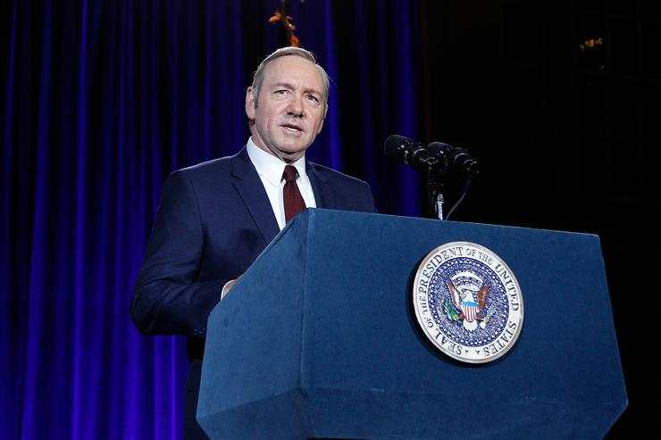 Kevin Spacey speaks on stage at the portrait unveiling and season 4 premiere of Netflix's 'House Of Cards' at the National Portrait Gallery on February 22, 2016 in Washington, DC.