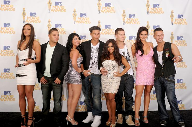 Sammi Giancola, Ronnie 'Fist Pump Brah' Magro, Angelina 'Jolie' Pivarnick, Pauly Del Vecchio, Nicole 'Snooki' Polizzi, Vinny Guadagnino, Jenni 'JWOWW' Farley and Mike 'The Situation' Sorrentino pose in the press room at the 2010 MTV Movie Awards held at the Gibson Amphitheatre at Universal Studios on June 6, 2010 in Universal City, California