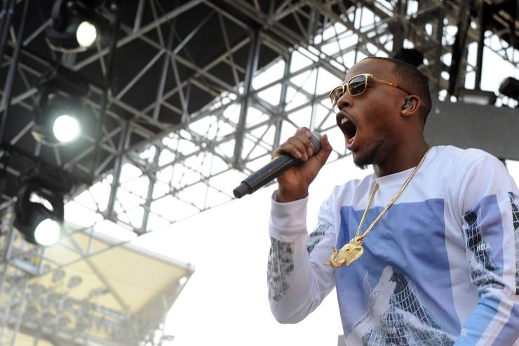 Rapper B.o.B performs onstage during 102.7 KIIS FM's 2014 Wango Tango at StubHub Center on May 10, 2014 in Los Angeles, California